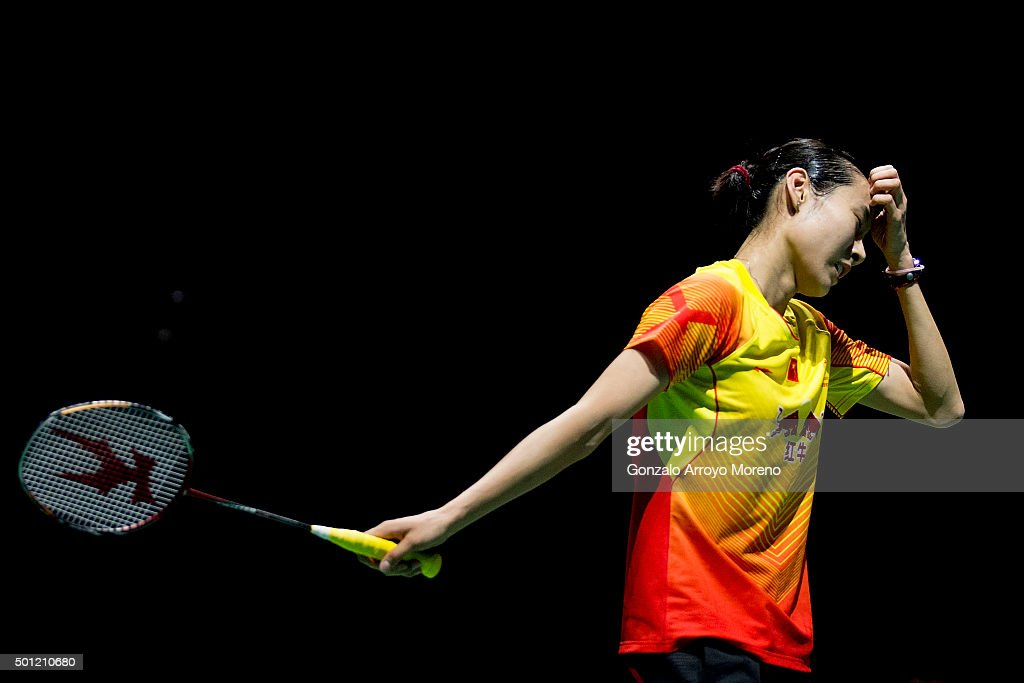 <a gi-track='captionPersonalityLinkClicked' href=/galleries/search?phrase=Wang+Shixian&family=editorial&specificpeople=5777044 ng-click='$event.stopPropagation()'>Wang Shixian</a> of China reacts in the Final Women,s Single match against Nozomi Okuhara of Japan during day five of the BWF Dubai World Superseries 2015 Finals at the Hamdan Sports Complex on on December 13, 2015 in Dubai, United Arab Emirates.