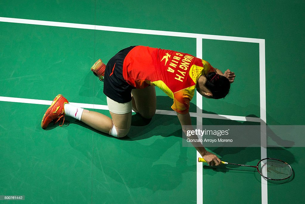 Wang Shixian of China reacts in the Women,s Singles match agianst Ratchanok Intanon of Thailanda during day two of the BWF Dubai World Superseries 2015 Finals at the Hamdan Sports Complex on on December 10, 2015 in Dubai, United Arab Emirates.