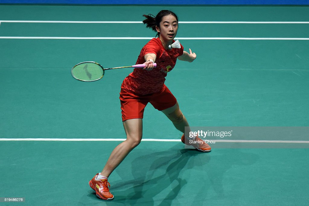 <a gi-track='captionPersonalityLinkClicked' href=/galleries/search?phrase=Wang+Shixian&family=editorial&specificpeople=5777044 ng-click='$event.stopPropagation()'>Wang Shixian</a> of China returns to Pai Yu Po of Chinese Taipei during day three of the Women Singles during the BWF World Super Series Badminton Malaysia Open at Stadium Malawati on April 7, 2016 in Shah Alam, Malaysia.