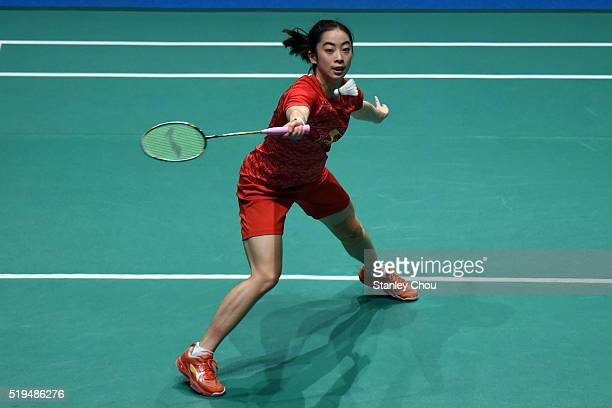 Wang Shixian of China returns to Pai Yu Po of Chinese Taipei during day three of the Women Singles during the BWF World Super Series Badminton...
