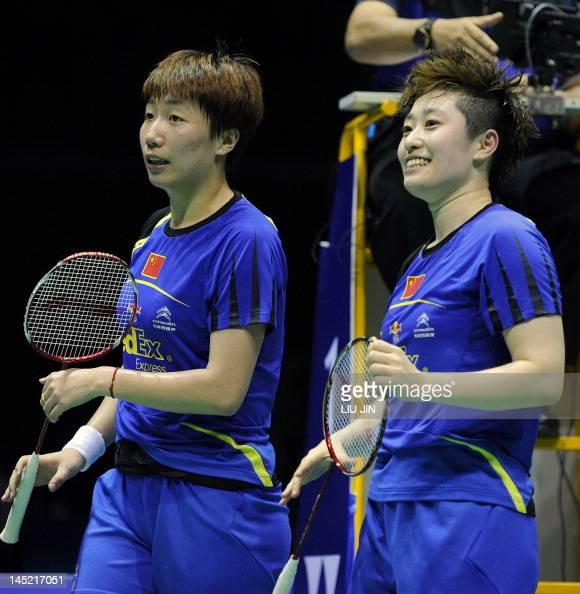 Wang Xiaoli and Yu Yang of China celebrate after defeating Duanganong Aroonkesorn and Kunchala Voravichitchaikul of Thailand during the semifinal...