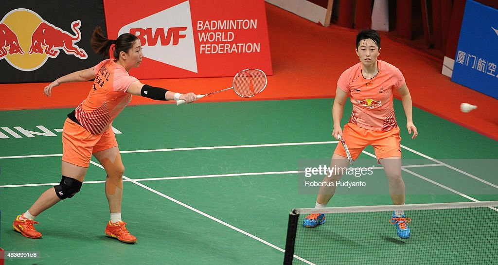 Wang Xiaoli and Yu Yang of China compete against Heather Olver and Lauren Smith of England in the 2015 Total BWF World Championship at Istora Senayan...