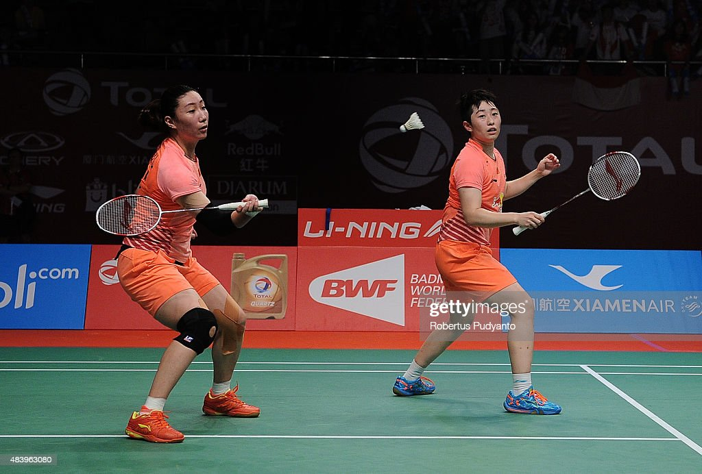 Wang Xiaoli and Yu Yang of China compete against Tian Qing and Zhao Yunlei of China in the quarter final match of the 2015 Total BWF World...