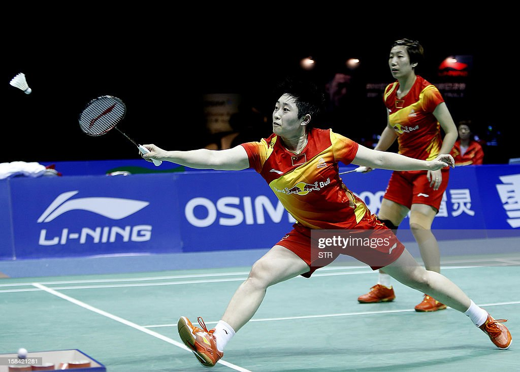 Wang Xiaoli and Yu Yang (L) of China in action against Christinna Pedersen and Kamilla Rytter Juhl of Denmark in the women's doubles event of the 2012 BWF Superseries Finals in Shenzhen, south China's Guangdong province on December 16, 2012. Wang and Yu beat Pedersen and Juhl 21-16, 21-14 for the title.