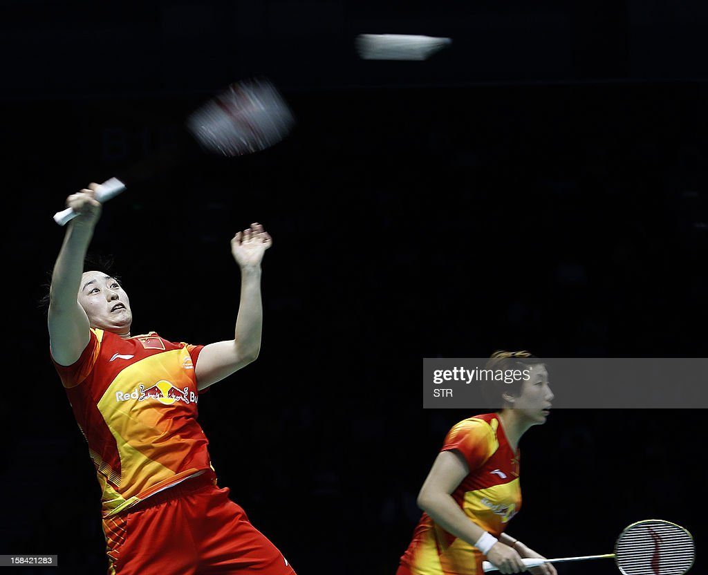 Wang Xiaoli and Yu Yang (L) of China in action against Christinna Pedersen and Kamilla Rytter Juhl of Denmark in the women's doubles event of the 2012 BWF Superseries Finals in Shenzhen, south China's Guangdong province on December 16, 2012. Wang and Yu beat Pedersen and Juhl 21-16, 21-14 for the title. AFP PHOTO