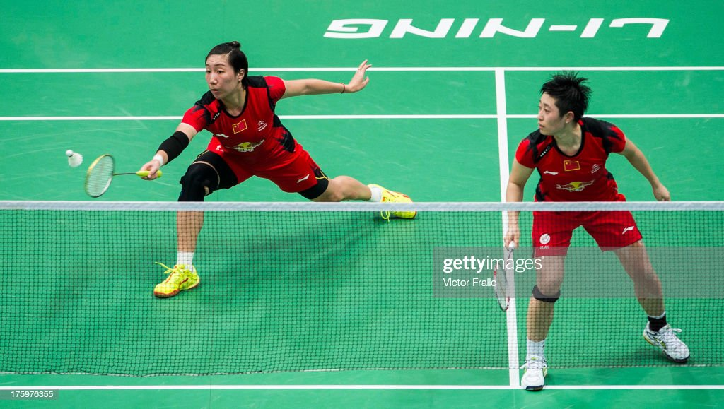 Wang Xiaoli and Yu Yang of China in action during her women's doubles final match against Eom Hye Won and Jang Ye Na of South Korea during the...