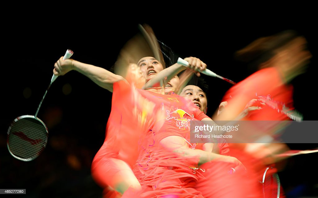 Wang Xiaoli and Yu Yang of China in action in the women's doubles during day three of YONEX All England Open Badminton Championships at Birmingham...