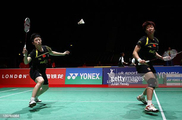Wang Xiaoli and Yu Yang of China in action in their doubles match against Emelie Lennartsson and Emma Wengberg of Sweden during day two of the BWF...