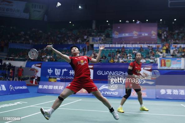 Wang Xiaoli and Yu Yang of China react during their women's doubles semifinal match against Christinna Pedersen and Kamilla Rytter Juhl of Denmark at...