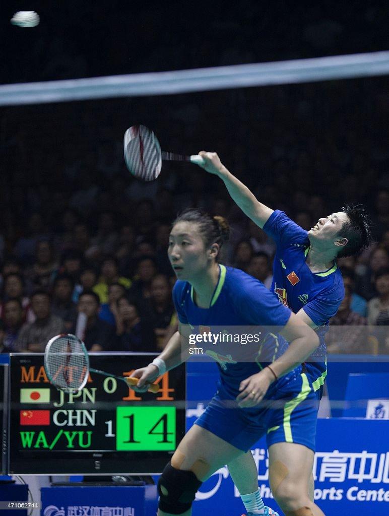 Wang Xiaoli and Yu Yang of China return to Matsutomo Misaki and Takahashi Ayaka of Japan during their women's doubles semi final match at the...
