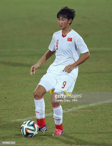 Wang Yanwen of China in action during the 2014 FIFA Girls Summer Youth Olympic Football Tournament Preliminary Round Group B match between Namibia...