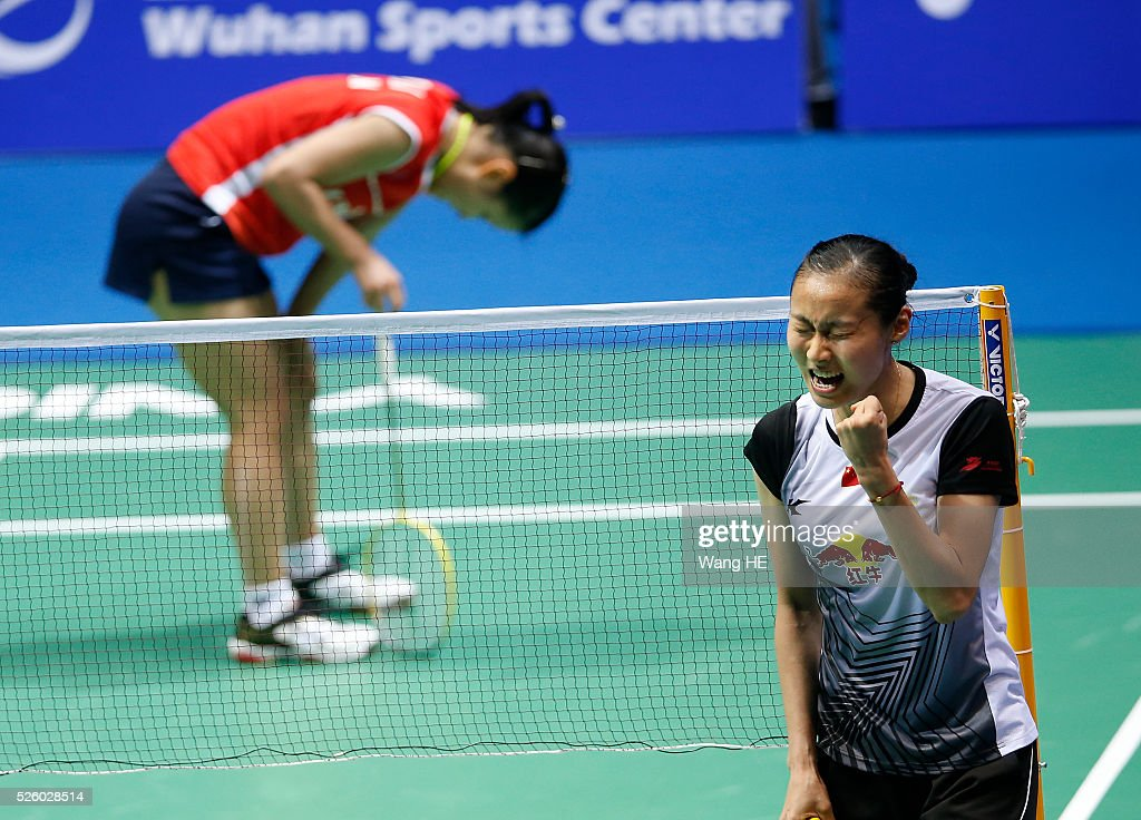Wang Yihan of china celebrates after defeating Nozomi Okuhara of Japan during their women's singles match at the 2016 Badminton Asia Championships, in Wuhan, Hubei province, China, April 29, 2016.