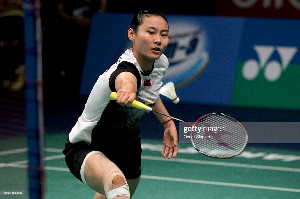 Wang Yihan of China plays a shot during the 2016 Indonesia Open women's singles final match against Tai Tzu Ying of Taiwan on June 5, 2016 in Jakarta, Indonesia.