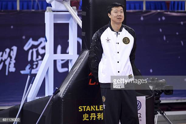 Wang Zhizhi coach of Southern Team provides guidance for Southern Team's training ahead of Rookie Game as part of 2017 CBA AllStar Weekend on January...