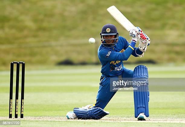 Wanidu Hasaranga of Sri Lanka bats during the Royal London OneDay Series match between England U19 v Sri Lanka U19 at Wormsley Cricket Ground on...