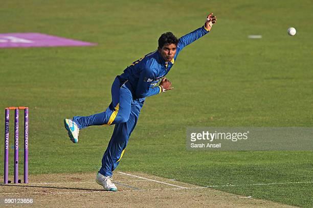 Wanidu Hasaranga of Sri Lanka U19 bowls during the Royal London OneDay Series match between England U19 v Sri Lanka U19 on August 16 2016 in...