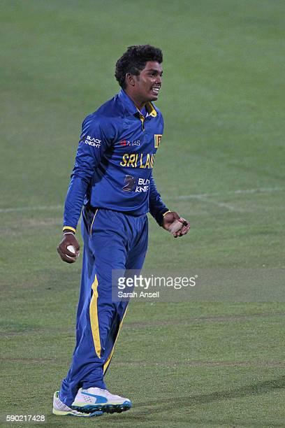 Wanidu Hasaranga of Sri Lanka U19 celebrates taking the wicket of England U19's Ben Twohig during the Royal London OneDay Series match between...