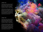 Surreal female portrait blended with vivid colors on the subject of imagination, creativity and design