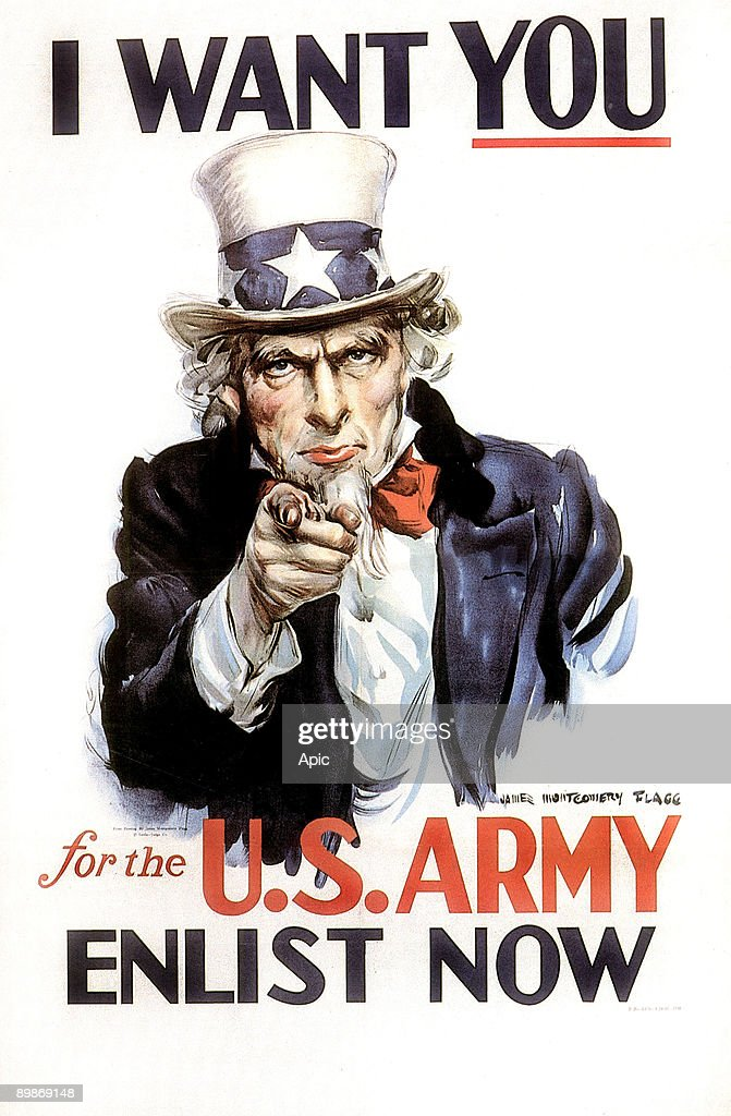 'I want you for the US Army Enlist now' poster by James Montgomery Flagg showing Uncle Sam recruiting for army 1917