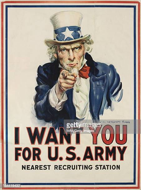 I Want You For US Army A portrayal of Uncle Sam in traditional top hat jacket and bow tie pointing directly at the viewer in the style of Alfred...
