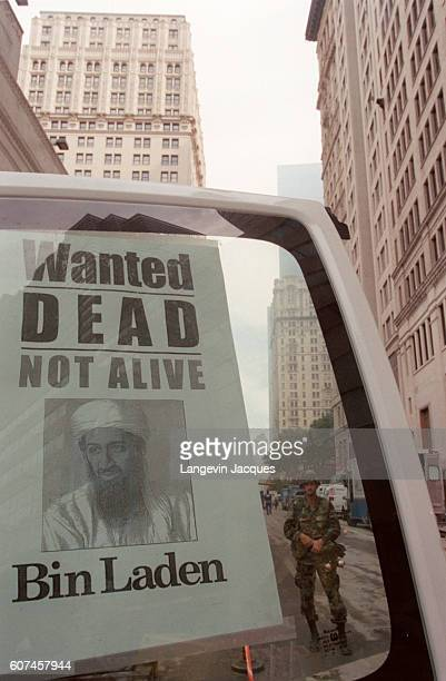 A 'Wanted Dead or Alive' poster of suspected Saudi terrorist responsible for the 9/11 World Trade Center attacks is posted on a car window in...