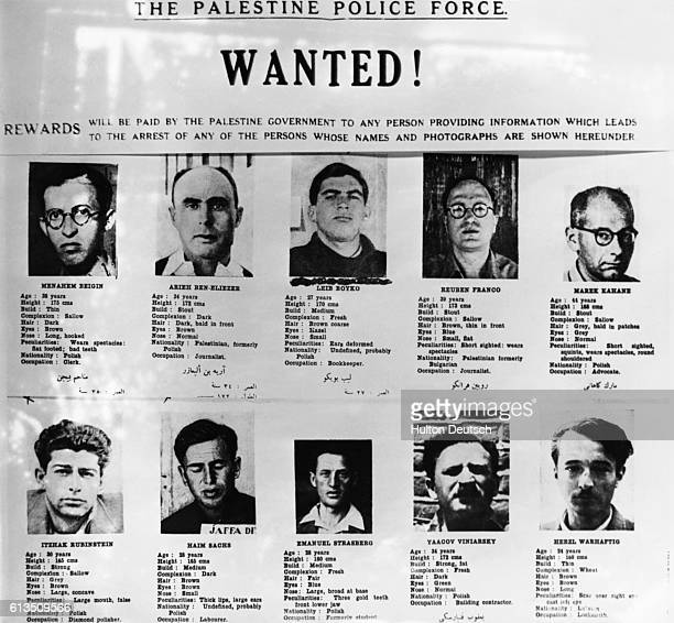 A 'wanted' poster published in Palestine showing photos of ten alleged Jewish terrorists
