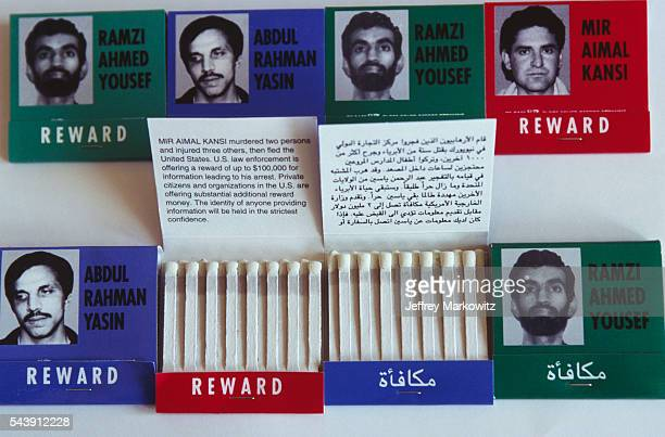 Wanted signs for Ramzi Ahmed Youssef one of the planners of the 1993 World Trade Center bombing on matchbook covers