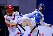 WanTing Lin of Taiwan competes with Ayse Beyza Yildiz of Turkey during the women's 46 kg qualifying matches for the WTF World Taekwondo Championships...