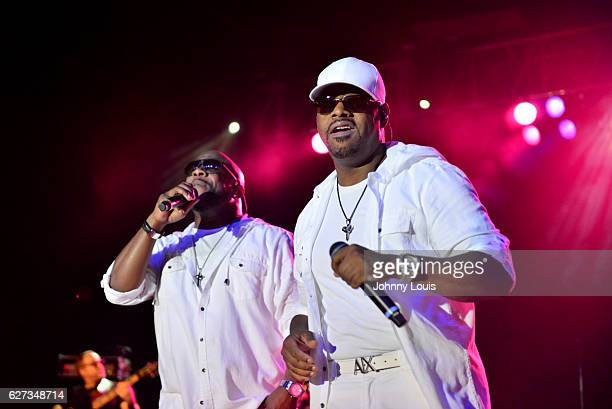 Wanya Morris and Nathan Morris of Boyz II Men perform onstage at Pompano Beach Amphitheatre on December 2 2016 in Pompano Beach Florida