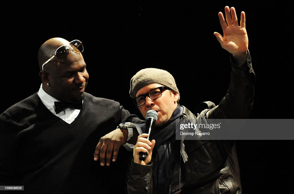 Wanya Morris of Boyz II Men and (R) Donnie Wahlberg of the New Kids On The Block speak at the New Kids On The Block Special Announcement at Irving Plaza on January 22, 2013 in New York City.