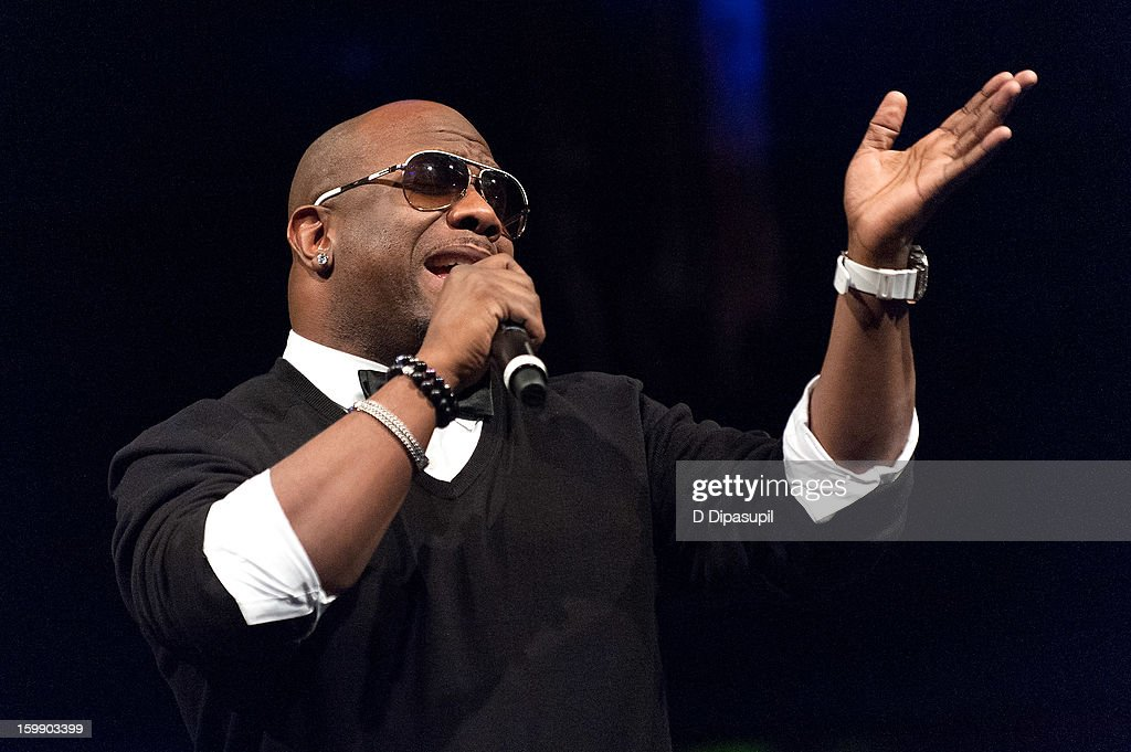 Wanya Morris of Boyz II Men performs during the Package Tour Special Announcementat Irving Plaza on January 22, 2013 in New York City.