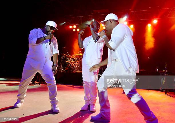 Wanya Morris Shawn Stockman and Nathan Morris of Boyz II Men perform onstage at Pompano Beach Amphitheatre on December 2 2016 in Pompano Beach Florida