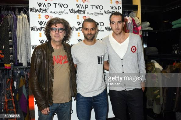 Wap Two co designer Christophe Boulayas Tony Parker and Kiliwatch Commercial director attend the Wap Two' by Tony Parker Launch Cocktail At Kiliwatch...