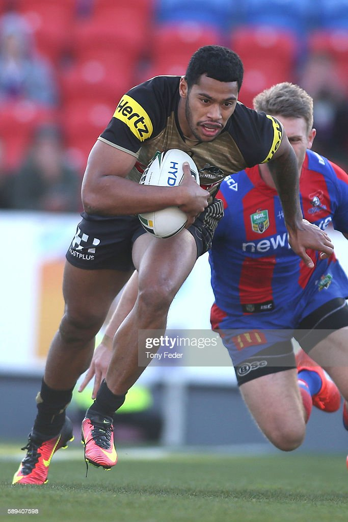Waqa Blake of the Panthers about to score a try during the round 23 NRL match between the Newcastle Knights and the Penrith Panthers at Hunter Stadium on August 14, 2016 in Newcastle, Australia.