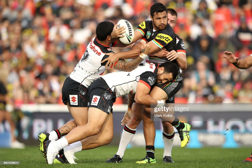 Waqa Blake of the Panthers is tackled during the round 10 NRL match between the Penrith Panthers and the New Zealand Warriors at Pepper Stadium on May 13, 2017 in Sydney, Australia.