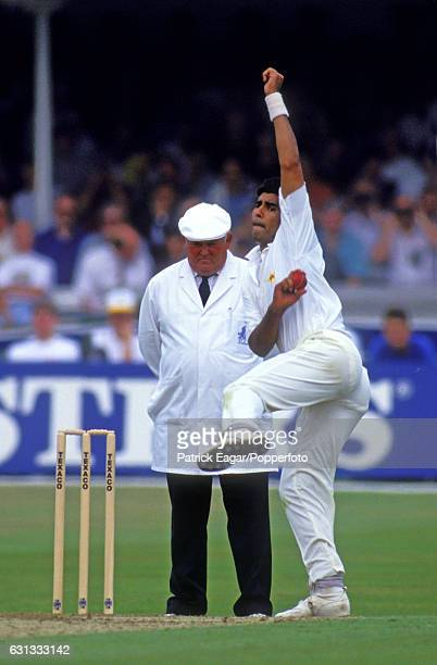 Waqar Younis bowling for Pakistan during the 1st Texaco Trophy One Day International between England and Pakistan at Lord's Cricket Ground London...