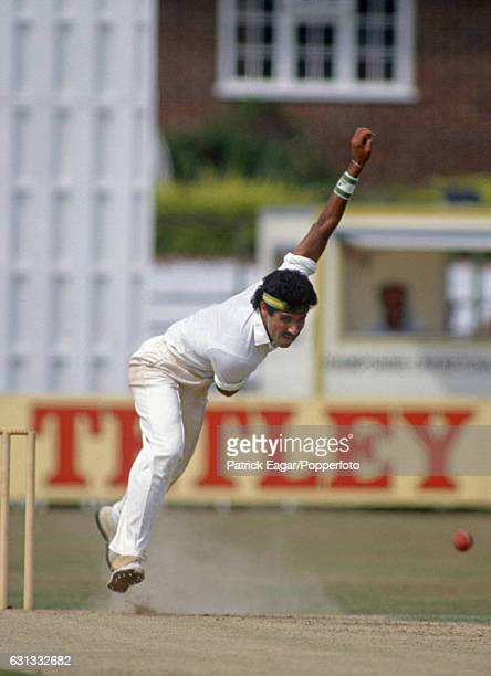Waqar Younis bowling for Surrey during a county match between Hampshire and Surrey at the County Ground Southampton 23rd August 1990