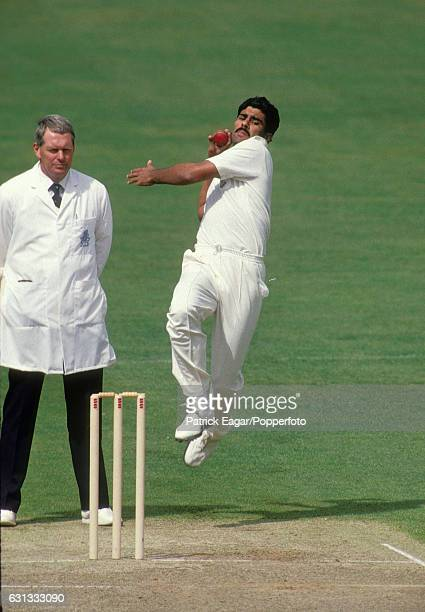 Waqar Younis bowling for Surrey during the Benson and Hedges Cup group match between Surrey and Essex at The Oval London 23rd April 1991 the umpire...