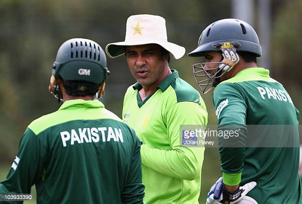 Waqar Younis coach of Pakistan gives advice during a Pakistan Training Session at The Riverside on September 9 2010 in ChesterleStreet England
