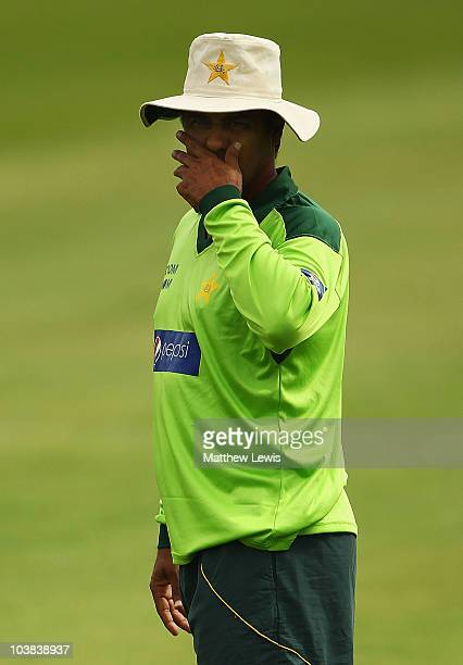 Waqar Younis Coach of Pakistan looks on during a Pakistan nets session at the SWALEC stadium on September 4 2010 in Cardiff Wales