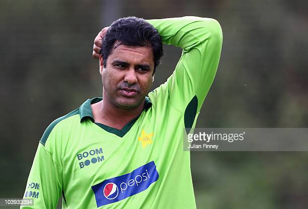 Waqar Younis coach of Pakistan looks on during a Pakistan Training Session at The Riverside on September 9 2010 in ChesterleStreet England