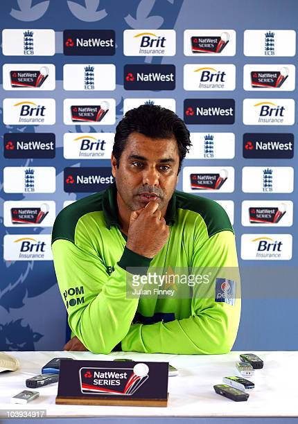 Waqar Younis coach of Pakistan talks to the media after a Pakistan Training Session during England Nets Session at The Riverside on September 9 2010...