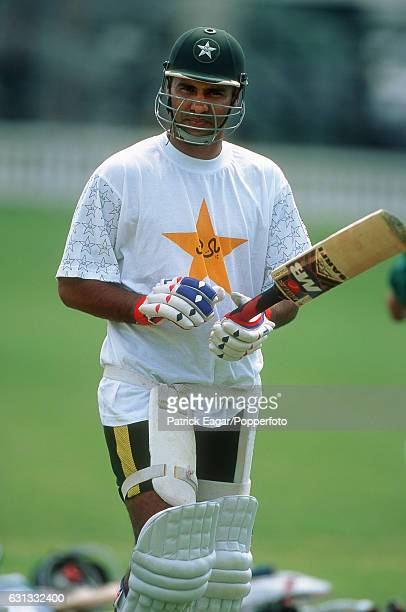 Waqar Younis of Pakistan at a nets session during the 2001 Tour of England 16th May 2001