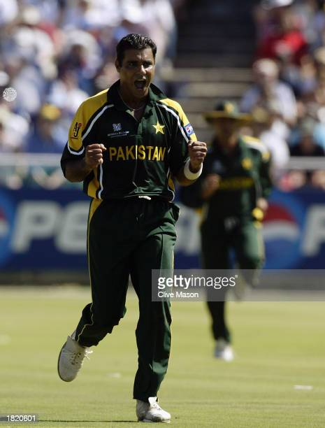 Waqar Younis of Pakistan celebrates a wicket during the ICC Cricket World Cup 2003 Pool A match between England and Pakistan held on February 22 2003...