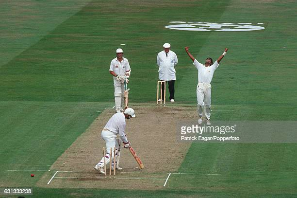 Waqar Younis of Pakistan celebrates after bowling England batsman Graham Gooch for 42 during the 3rd Texaco Trophy One Day International between...