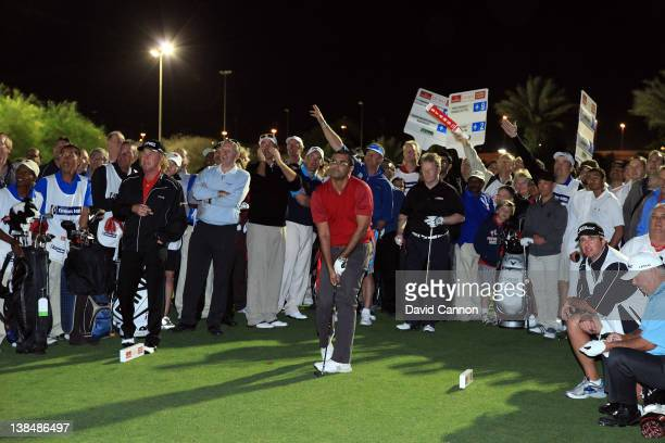 Waqar Younis of Pakistan during the Celebrity Challenge Match as a preview for the 2012 Omega Dubai Desert Classic on the Par 3 Course at the...