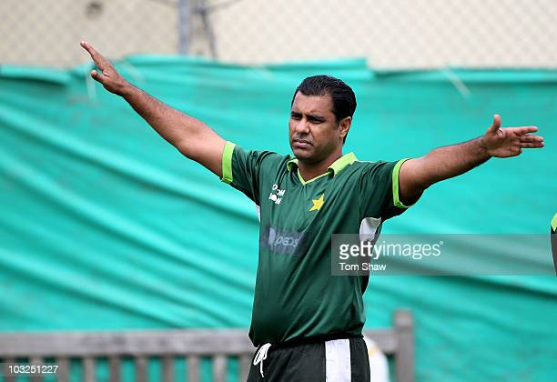 Waqar Younis the Pakistan coach looks on during the Pakistan nets session at Edgbaston on August 5 2010 in Birmingham England