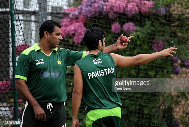 Waqar Younis the Pakistan coachhas a chat with captain Salman Butt of Pakistan during the Pakistan nets session at Edgbaston on August 5 2010 in...