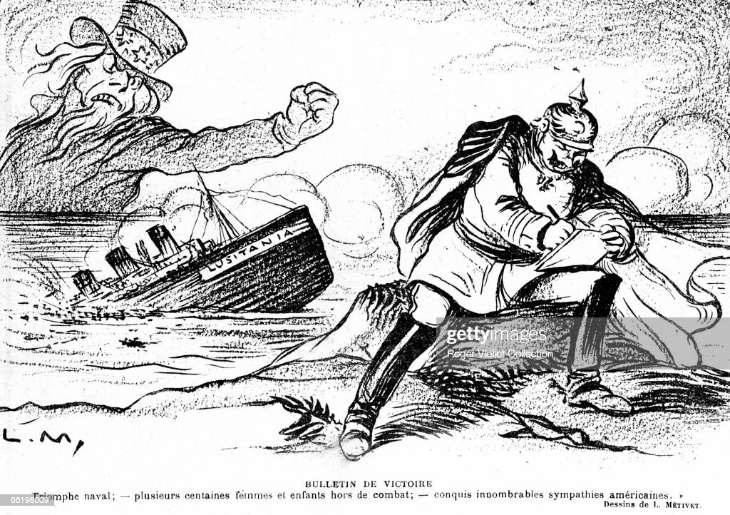 War 1914-1918. The english liner 'Lusitania' sunk by a German submarine (7 may 1915). Engraving by Lucien Metivet (1863-1930). 'Le Rire', 22 may 1915.