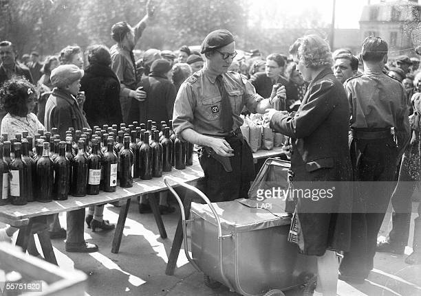 War 19391945 Distribution by the French Militia of foods seized in black market Montreuil May 1944 LAP25710C